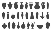Vases And Amphoras Collection. Vase Pottery, Ancient Pot Greek. Various Forms Of Vases. Silhouettes Vector Illustration.