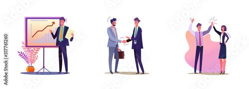Set of business people making deal Slika na platnu