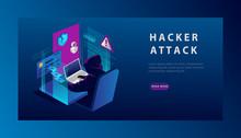 Isometric Internet Hacker Atta...