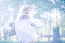 Wind Long Hair Summer Girl Por...