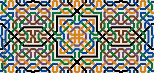 Fotografiet Colorful Ornate Seamless Vector Pattern of Moorish Tiled Decorations