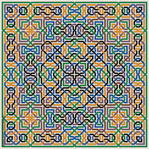 Photo Colorful Ornate Vector Pattern of Moorish Tiled Decorations