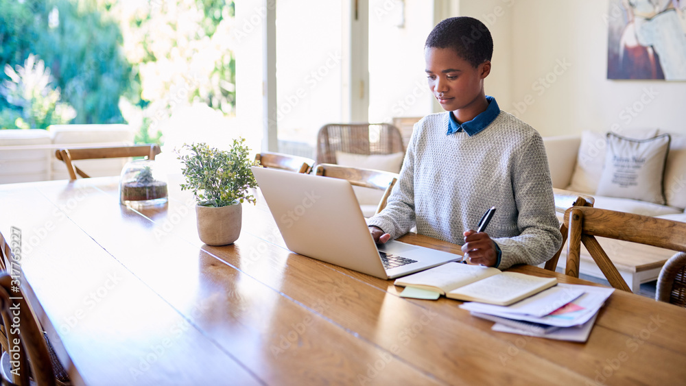 Fototapeta Focused young African American female entrepreneur working from home