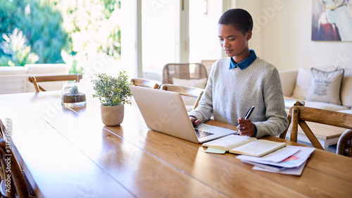 Fototapeta Focused young African American female entrepreneur working from home obraz