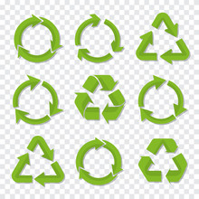 Set Of Recycle Icon In Green C...