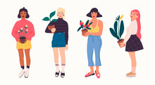 Set Of Four Girls In Trendy Clothes Holding A Potted Plants. Florist Ladies. Modern Fashion Look. Hand Drawn Vector Trendy Illustration. Flat Design. Cartoon Style. Isolated On A White Background