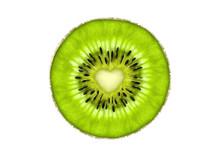 Beautiful Slice Of Fresh Juicy Kiwi Fruit With Heart Symbol Isolated On White Background