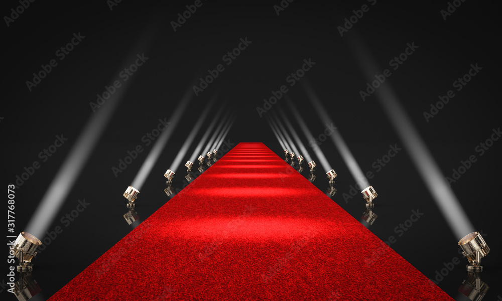 Fototapeta 3d render image of an entrance with red carpet