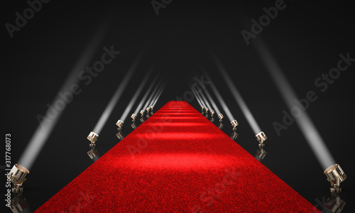 Fotografía 3d render image of an entrance with red carpet