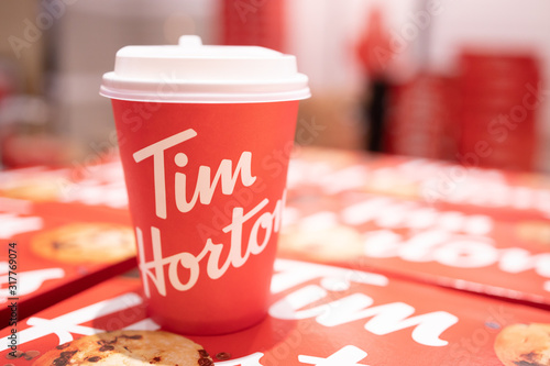 BANGKOK,THAILAND-JANUARY 25: View of a Cof of Tim Hortons Coffee on January 25,2020. Tim Horton just open their First Coffee Shop in Bangkok in 2020