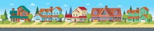 Cityscape With Suburban Houses, Cottages And Villas. Vector Cartoon Illustration For Games Or Animation. Layered Background.