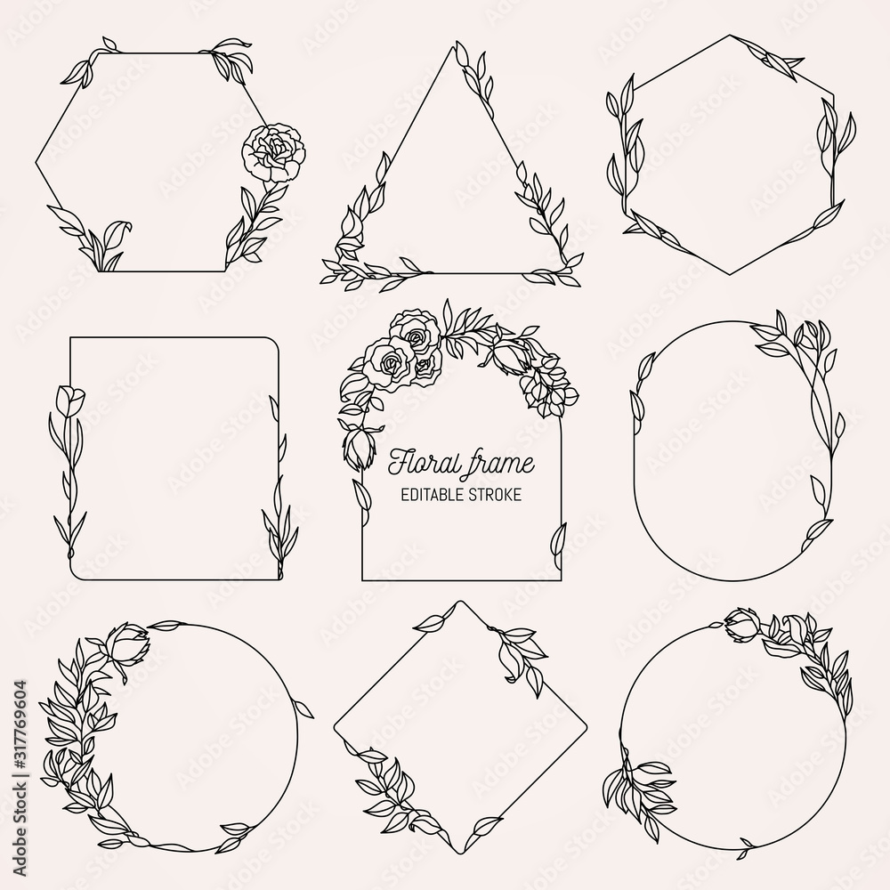 Fototapeta Collection of geometric vector floral frames. Round, oval, triangle, square Borders decorated with hand drawn delicate flowers, branches, leaves, blossom