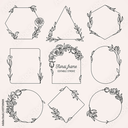 Obraz Collection of geometric vector floral frames. Round, oval, triangle, square Borders decorated with hand drawn delicate flowers, branches, leaves, blossom - fototapety do salonu