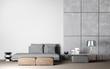 Leinwanddruck Bild - Living room interior design in white and concrete background, 3D render