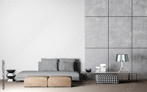 Living room interior design in white and concrete background, 3D render Canvas Print