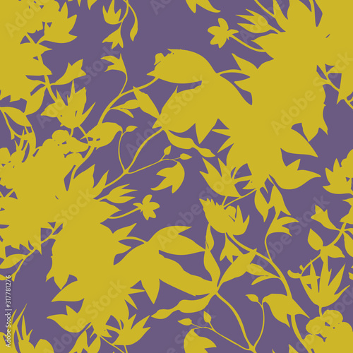 Fotografiet Seamless floral pattern with abstract garden plants