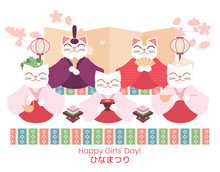 Hina Matsuri (Japanese Girls Festival) Celebration Card. Cat Dolls Of Emperor Family And Servants Sitting With Rice Cake, Golden Screen, And Cherry Flowers. Caption Translation: Hinamatsuri