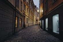 STREET IN OLD TOWN AT NIGHT