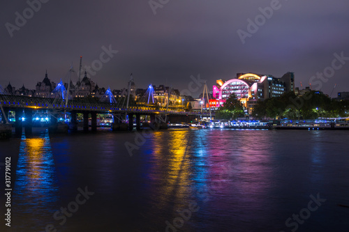 Night London Charing Cross station and Hungerford Bridge, reflection night lights фототапет