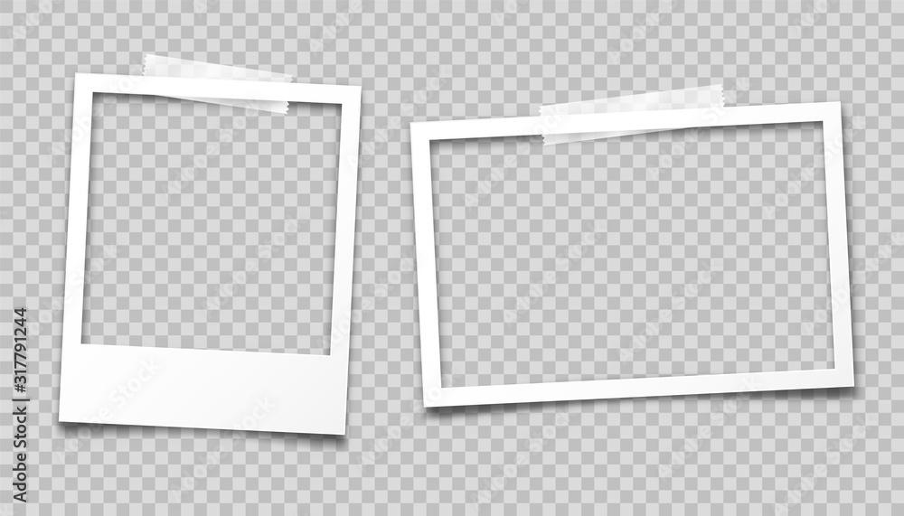 Fototapeta Realistic empty photo card frame, film set. Retro vintage photograph with transparent adhesive tape. Digital snapshot image. Template or mockup for design. Vector illustration.