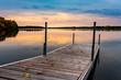 canvas print picture - Matin paisible au chalet avec vue sur le quais