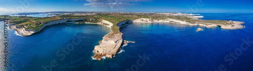 Panorama of beautiful cliffs near Marsaxlokk on Malta