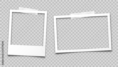 Obraz Realistic empty photo card frame, film set. Retro vintage photograph with transparent adhesive tape. Digital snapshot image. Template or mockup for design. Vector illustration. - fototapety do salonu