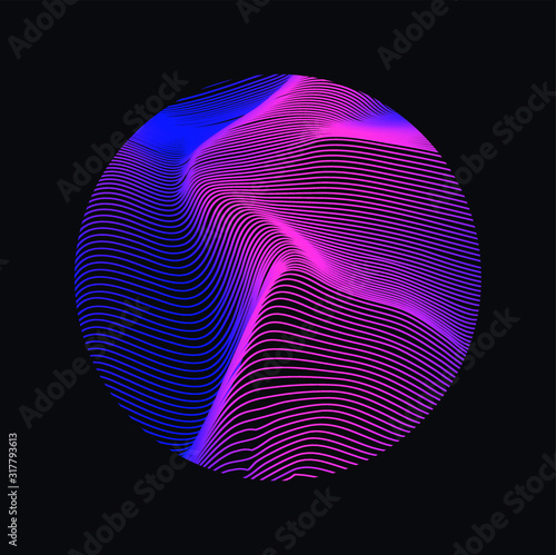 Obraz Illuminated holographic circle with glitched texture, wavy lines. Retrofuturistic illustration in 80s-90s Vaporwave, synthwave, retrowave style. - fototapety do salonu