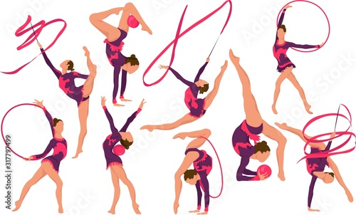 Fotografia Set girl rhythmic gymnastics vector illustration