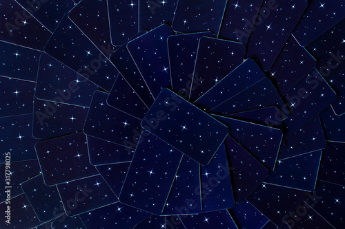 abstract background with tarot cards deck blue stars sky Wallpaper Mural