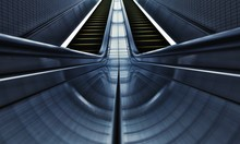 Low Angle View Of Empty Escalator At Subway