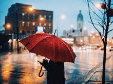 Person Carrying Umbrella Standing On City Street During Rainy Season