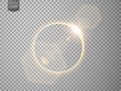 Gold eclipse with lens flare. isolated on transparent background