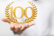 100 Anniversary 3d Numbers. Po...
