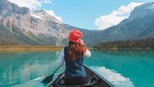 Kayaking Around Emerald Lake In Banff Canada