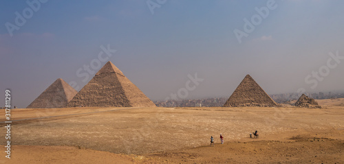 The Pyramids of Giza and the Sphinx of Egypt, a global tourist area of the wonders of the world