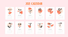 2021 Wall Calendar With Abstra...