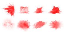 Set Of Red Explode Brushes. Beautiful Red Splash Brushes