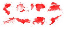 Abstract Red Paint Brushes Col...