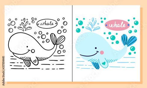 Whale. Coloring pages. Cartoon cute marine wild animals, sea elements. Black and white hand drawn doodle for coloring book.