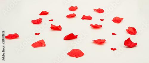 carte ou bandeau pétale et coeur rouge Wallpaper Mural