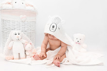 Cute Baby Under A White Towel ...