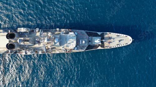 Fotografía Aerial drone photo of Hellenic Navy Frigate Hydra cruising in low speed in Aeg