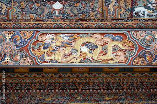 Photo Elaborate exterior woodwork of the Gangtey Gompa