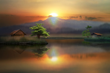 Fototapeta Rzeki i Jeziora beautiful sunrise in the lake