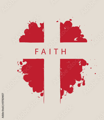The sign of the abstract cross with the word Faith on the background of red drops Fototapet