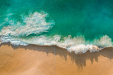Fantastic Drone View Azure Water Ocean Golden Beach Kelingking Beach Nusa Penida Bali Indonesia. Romantic Beach With Big Waves With No People