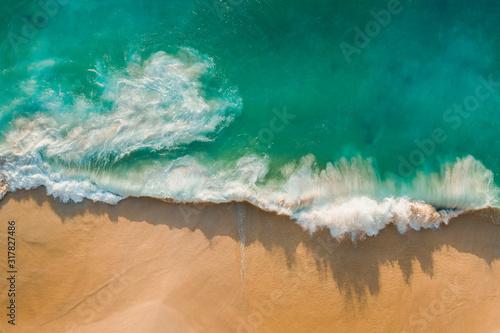 Fantastic drone view azure water ocean golden beach Kelingking Beach Nusa Penida Bali Indonesia Fototapeta