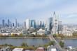 Frankfurt am Main Germany aerial view towards the city from the main river. 10.12.2019 Frankfurt am Main Germany.