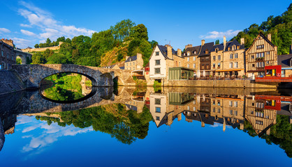The Old bridge in the port of Dinan town, France